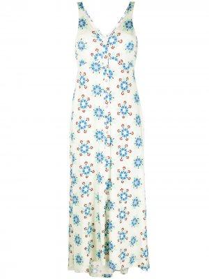 Платье миди с цветочным принтом Paco Rabanne. Цвет: нейтральные цвета