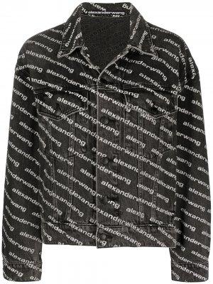 Куртка с логотипом Alexander Wang. Цвет: черный