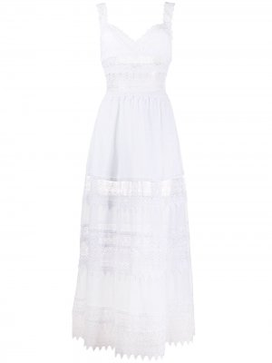 Кружевное платье макси Sophia Charo Ruiz Ibiza. Цвет: белый