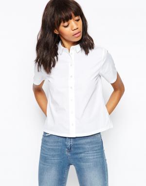 Прямая рубашка с короткими рукавами ASOS DESIGN. Цвет: белый
