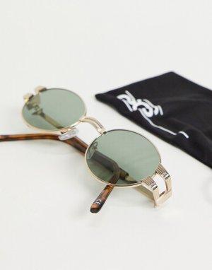 Золотистые солнцезащитные очки в круглой оправе винтажном стиле -Золотистый ASOS DESIGN
