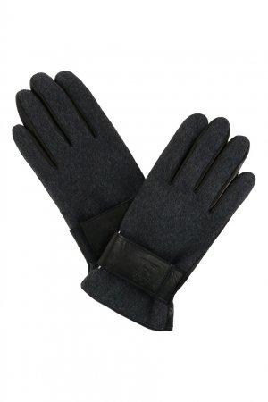 Кожаные перчатки с текстильной отделкой Strellson. Цвет: серый