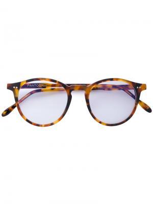 Круглые очки с эффектом черепашьего панциря Pantos Paris. Цвет: коричневый