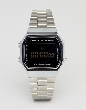 Цифровые часы (серебристый/черный зеркальный) A168W-Серебряный Casio