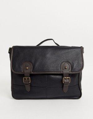 Черный кожаный портфель с двумя коричневыми ремешками ASOS DESIGN