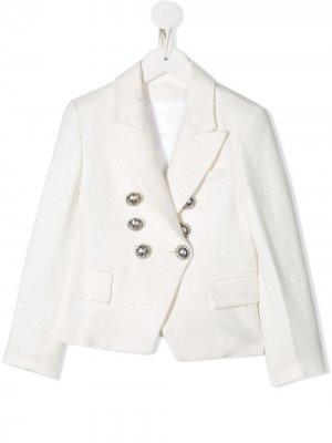 Фактурный пиджак Balmain Kids. Цвет: белый