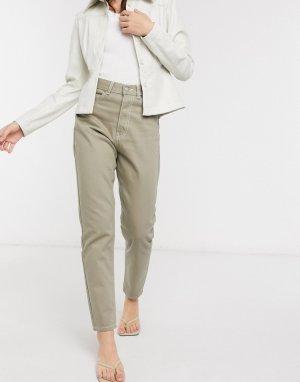 Бежевые джинсы в винтажном стиле с завышенной талией -Зеленый цвет Dr Denim