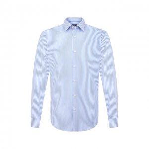 Хлопковая сорочка BOSS. Цвет: синий