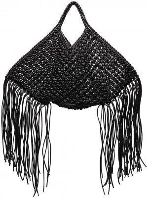 Большая плетеная сумка-тоут из искусственной кожи Yuzefi. Цвет: черный