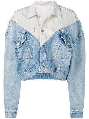 Многослойная джинсовая куртка UNRAVEL PROJECT. Цвет: синий