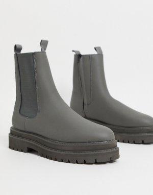 Серые высокие ботинки челси из искусственной кожи -Серый ASOS DESIGN
