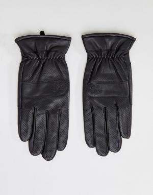 Черные кожаные перчатки с перфорацией Fred Perry. Цвет: черный