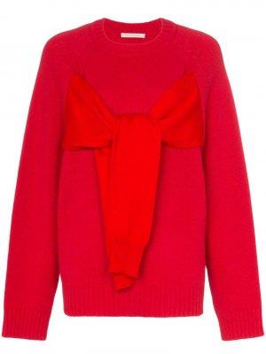 Вязаный свитер с узлом спереди Christopher Kane. Цвет: красный