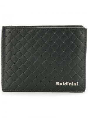 Плетеный бумажник Baldinini. Цвет: черный