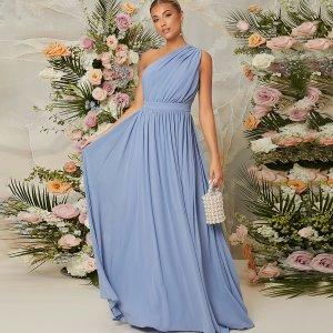 Вечернее платье на одно плечо SHEIN. Цвет: пыльно-синий