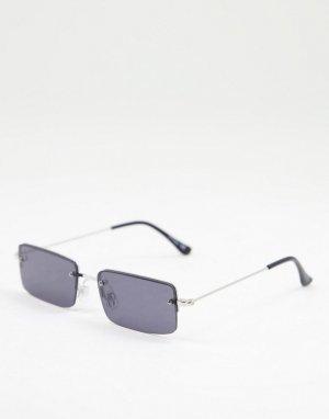 Квадратные солнцезащитные очки унисекс в серебристой оправе с черными стеклами -Серебристый Jeepers Peepers