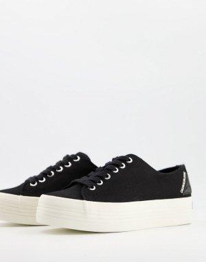 Черные кроссовки на плоской платформе Jeans Zohene-Черный цвет Calvin Klein