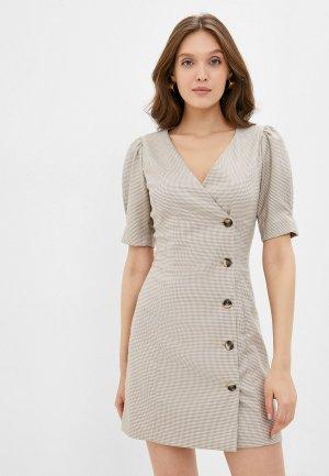 Платье Kira Plastinina. Цвет: бежевый