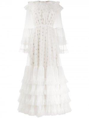 Ярусное платье макси Giambattista Valli. Цвет: белый