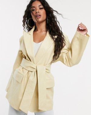 Кожаная куртка лимонного цвета в винтажном стиле -Зеленый цвет ASOS DESIGN