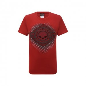 Хлопковая футболка Exclusive for Moscow Harley-Davidson. Цвет: красный