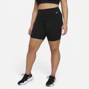 Женские велошорты со средней посадкой One 18 см (большие размеры) - Черный Nike