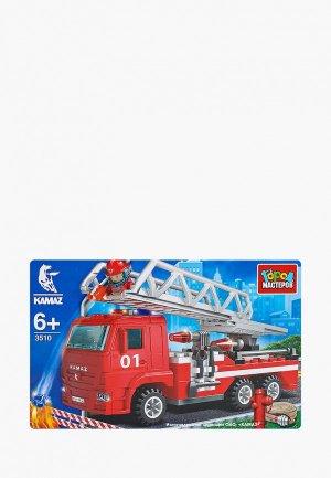 Конструктор Город Мастеров КАМАЗ: пожарная машина с лестницей, 126 деталей. Цвет: разноцветный