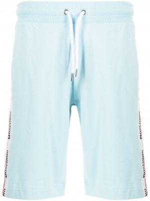 Logo-tape cotton track shorts Moschino. Цвет: синий