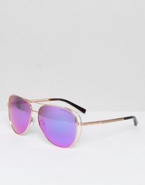 Солнцезащитные очки‑авиаторы с розовыми стеклами Chelsea Michael Kors. Цвет: золотой