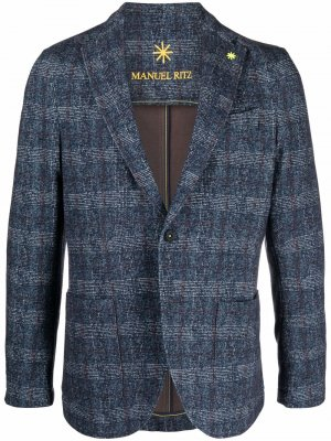 Check-print buttoned-up blazer Manuel Ritz. Цвет: синий