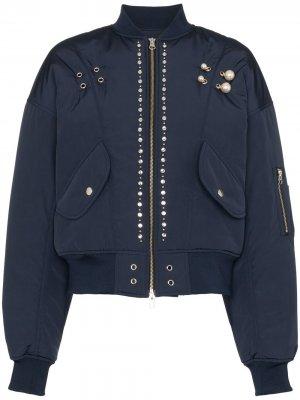 Куртка-бомбер с аппликацией Blindness. Цвет: синий