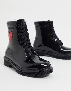Черные резиновые сапоги с сердцем сбоку -Черный Love Moschino