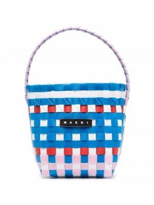 Плетеная сумка на плечо Marni Kids. Цвет: синий
