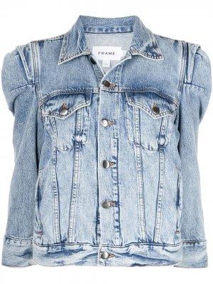 Джинсовая куртка с объемными плечами FRAME. Цвет: синий