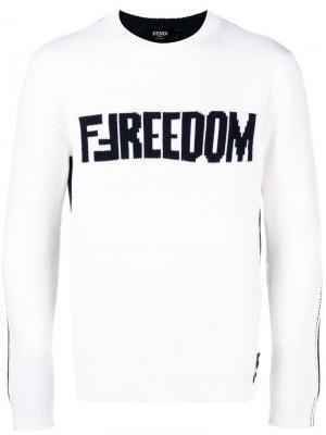 Свитер с логотипом FF Fendi. Цвет: белый