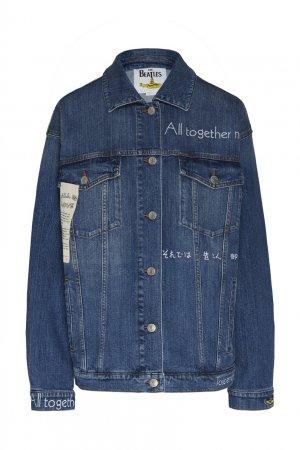Голубая джинсовая куртка с надписями Stella McCartney. Цвет: синий