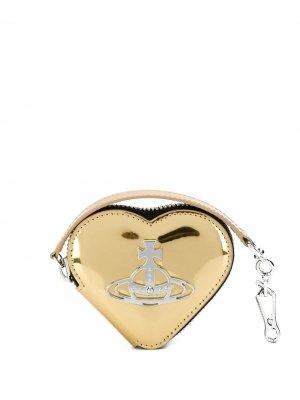 Кошелек для монет в форме сердца Vivienne Westwood. Цвет: золотистый