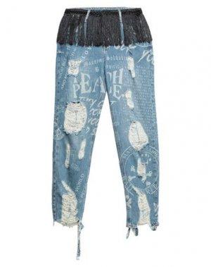 Джинсовые брюки-капри BAD SPIRIT. Цвет: синий