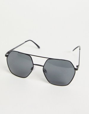 Черные солнцезащитные очки-авиаторы шестиугольной формы -Черный River Island
