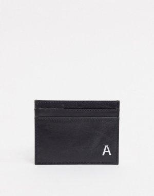 Кожаный кошелек для карт с инициалом A -Черный Peter Werth