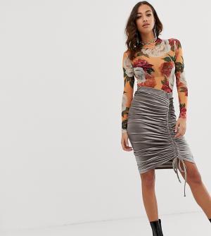 Бархатная юбка миди с присборенной отделкой -Серый Rokoko