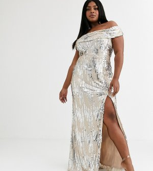 Платье-бандо макси с серебристыми пайетками и разрезом -Белый Goddiva Plus
