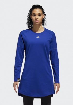 Платье adidas W SPORT DRESS. Цвет: синий