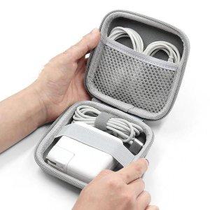 1шт Портативная сумка для хранения линии передачи данных SHEIN. Цвет: серый