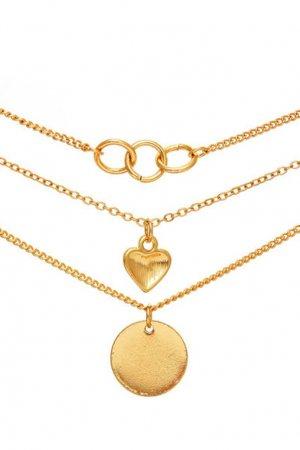 Тройное золотистое колье с подвесками Aqua. Цвет: золотой