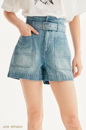 Джинсовые шорты с фигурной кокеткой и поясом LOVE REPUBLIC