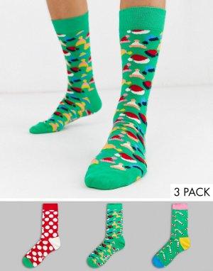 Набор из 3 пар носков в подарочной упаковке -Мульти Happy Socks