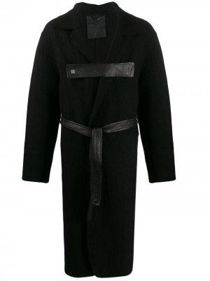 Пальто миди с поясом 10Sei0otto. Цвет: черный