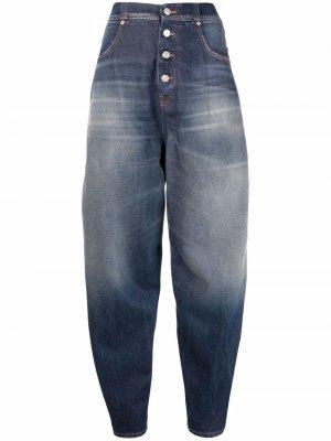 Двухцветные джинсы с завышенной талией MM6 Maison Margiela. Цвет: черный