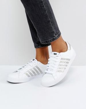Белые кроссовки с серебристыми полосками Kswiss Blemont-Белый K-Swiss
